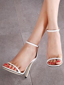Ankle Strap Simple Design Heel Sandals