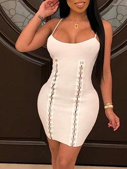 Button Up Low-Cut Skinny Sleeveless Mini Dress