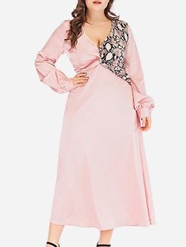 Snake Print Patchwork Pink Plus Size Maxi Dress