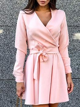 V Neck Tie-Wrap Pure Color A Line Dress