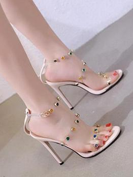 Color Rivet Decor Transparent traps Womens Sandals