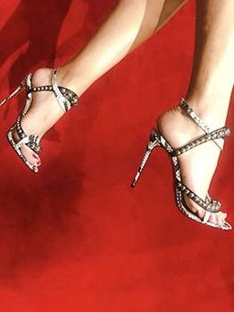 Solid snake Printed Beading Slingback Sandals