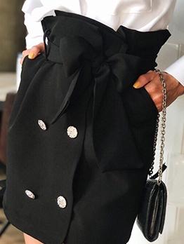 Tying Bowknot Side Pocket Ladies Black Skirt