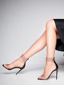 Transparent Strap Beading Heel Sandal