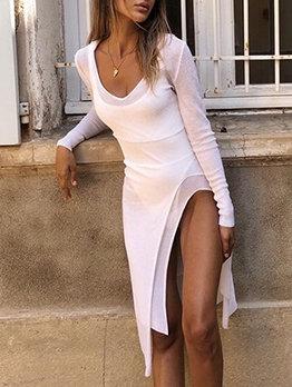 Fashion V Neck Split Hem White Long Sleeve Dress