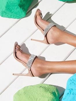 Tiny Rhinestones And Transparent Slipper Shoes