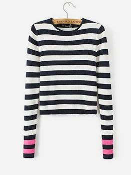 Autumn Daily Style Stripes Crew Neck Sweater