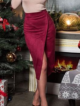 Versatile Split Hem Pure Color Skirts For Women