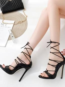 Peep Toe Stiletto Strappy Sandals