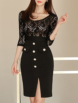 Lace Patchwork Button Decor Slit Bodycon Dress