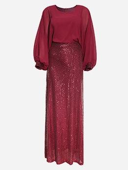 African Style Lantern Sleeve Sequin Evening Maxi Dress