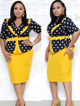 V Neck Polka Dots Blouse With High Waist Skirt