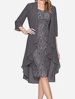 Elegant Sleeveless Lace Dress With Chiffon Coat For Party