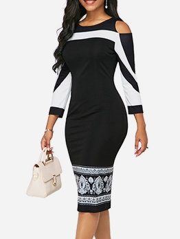 Cold Shoulder Contrast Color Ladies Dress For Women