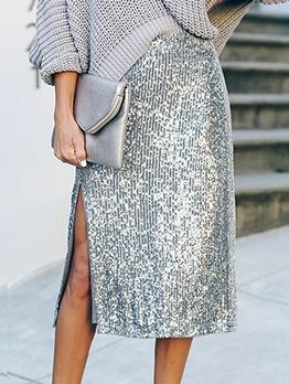 Solid Side Split Glitter Party Sequin Skirt