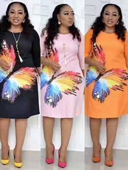 African Style Butterfly Print Loose Half Sleeve Ladies Dress
