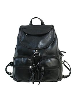 Multiple Zipper Solid Pu Backpacks For School