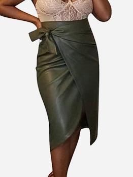Pu Solid Midi Wrap Skirt