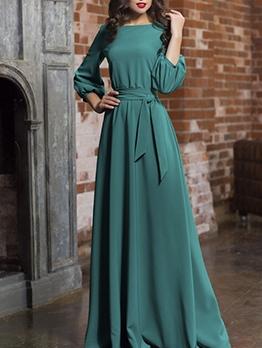 Fashion Lantern Sleeve Solid Tie-Wrap Formal Maxi Dresses