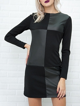 Fashion Contrast Color Pu Patchwork Long Sleeve Short Dress