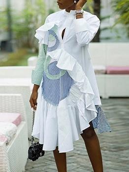 Ruffled Trim Asymmetric Striped Patchwork Dresses For Women
