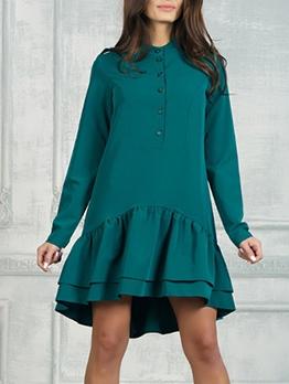 Ruffle Hem Solid Long Sleeve Short Dress Casual