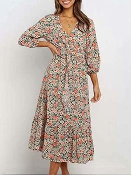Vacation Floral Long Sleeve Maxi Dress