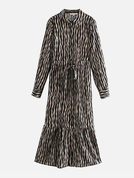 Animal Print Shirt Long Sleeve Maxi Dress