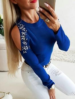 Rhinestone Decor Cold Shoulder Long Sleeve T-shirt Design