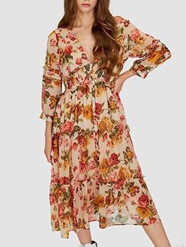 V Neck Single-Breasted Long Sleeve Floral Dress