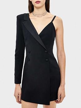 One Shoulder Slip Black Blazer Dress
