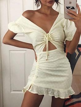 Stylish Drawstring Cut Out Short Sleeve Dress