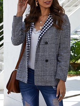 Chic Plaid Double Breasted Blazer