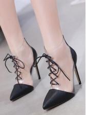 Patchwork Transparent Bandage Womens Boots