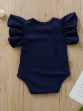 Ruffles Sleeves Solid Color Baby Girl Rompers