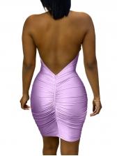 Sexy Sequin Decor See Though Purple Halter Mini Dress