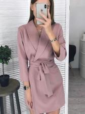 Simple Style Tie-Wrap Lapel Collar Ladies Dress