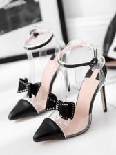Bow Decor T Strap Patchwork Heel Sandal