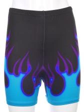 Flame Print Casual Womens Short Pants