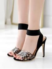 Criss Cross Transparent Strap Slingback Heels