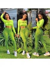 Fluorescent Green Leopard Print Crop Top And Pants Set