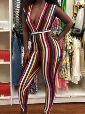 Deep V Neck Colorful Vertical Striped Jumpsuits