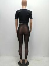 Letter Printing Black Two Piece Gauze Pants Set
