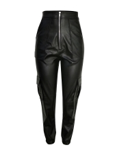 Pocket Front Zipper Black Leather Pants