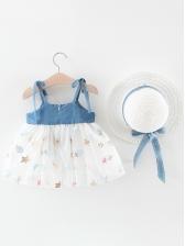 Denim Gauze Patchwork Sleeveless Floral Dress For Girl