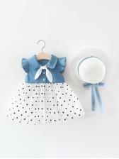 Denim Patchwork Polka Dots Sleeveless Dress For Girls
