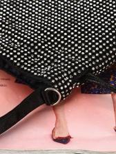 Tiny Rhinestone Drawstring Black Fashion Handbags