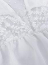 V Neck Lace Panel Long Sleeve Blouse