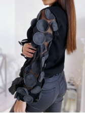 Chic Gauze Patchwork Puff Sleeve High Neck Blouse