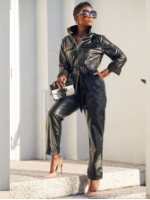 Long Sleeve Pocket Zipper Up Leather Jumpsuit